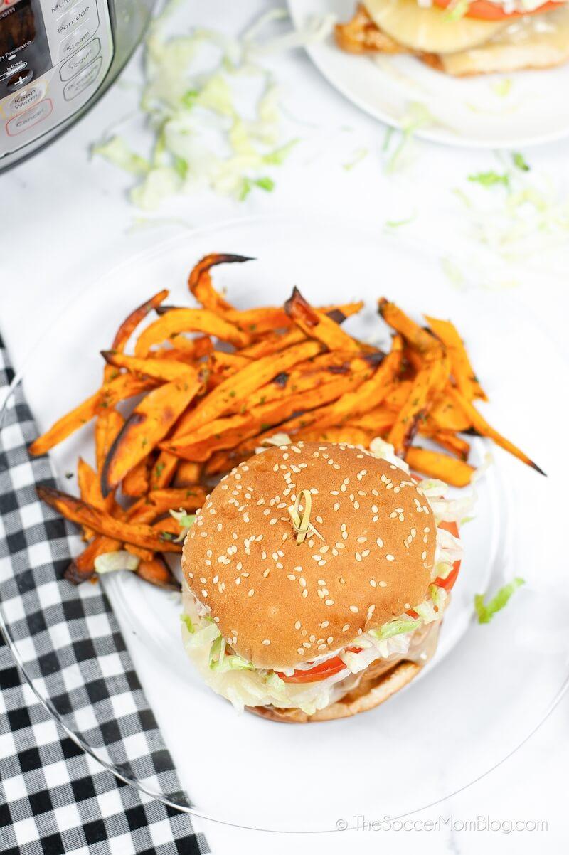 chicken teriyaki burger with sweet potato fries