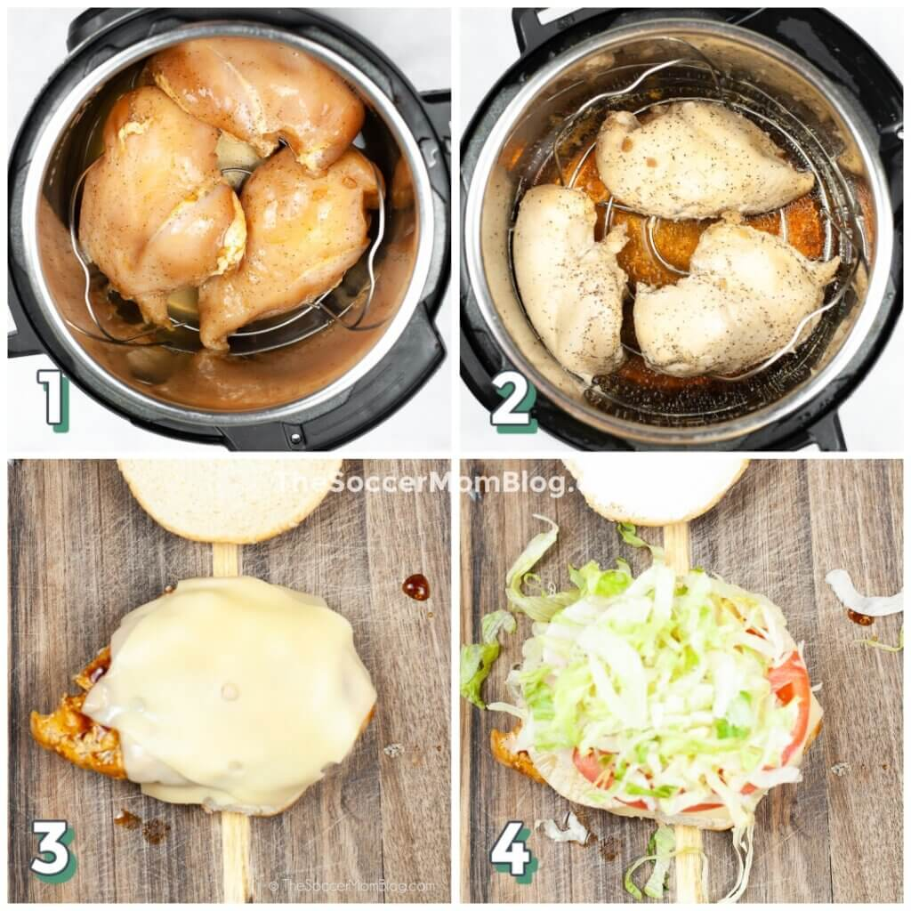 photo step by step showing how to make a teriyaki chicken burger