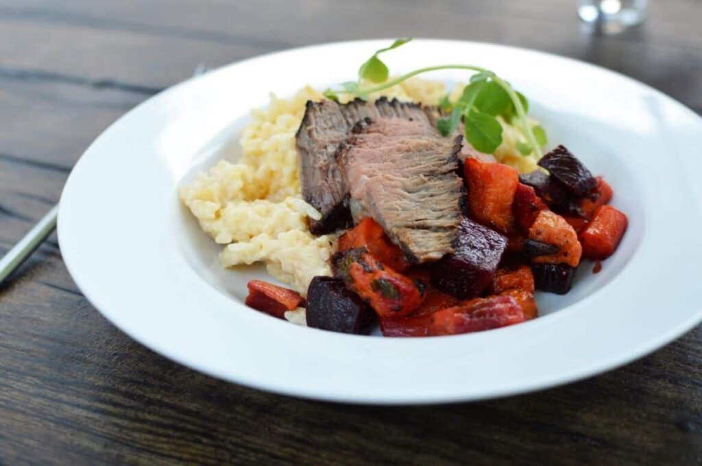 grilled steak with risotto