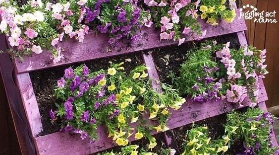 wooden pallet flower planter