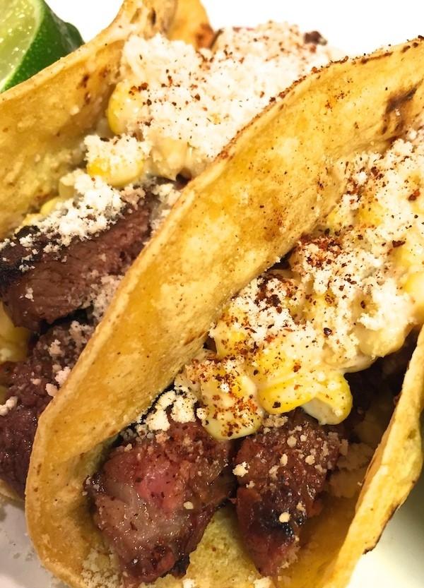 steak tacos with corn salsa