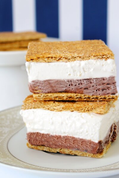 layered frozen smores dessert with graham crackers, chocolate pudding, and marshmallow creme