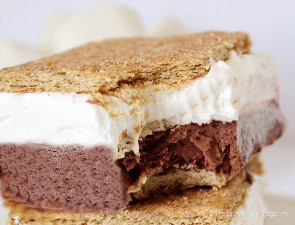 frozen smores square with bite missing