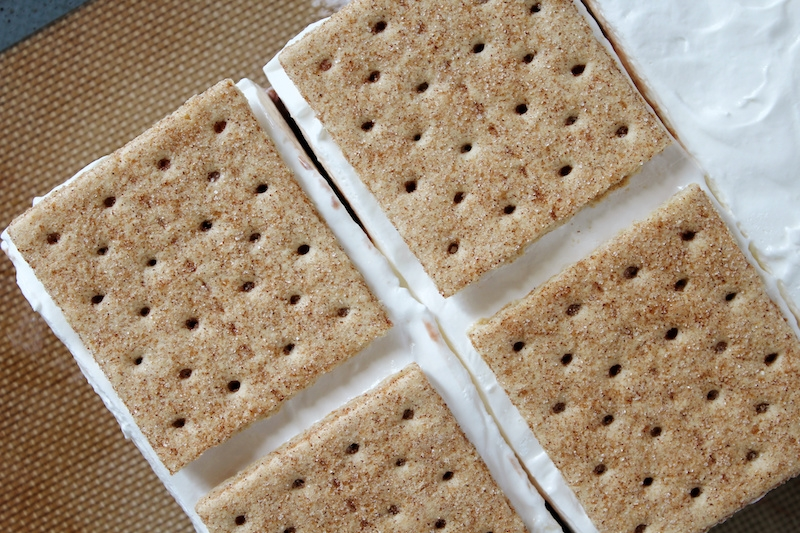 cutting frozen s'mores into squares