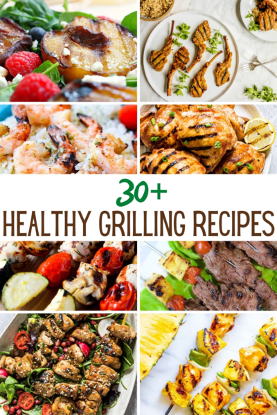 collage of healthy grill recipe ideas