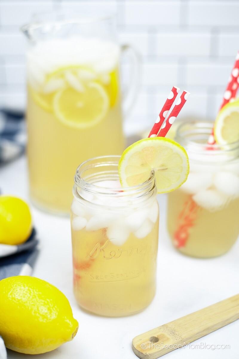 homemade lemonade served in mason jars
