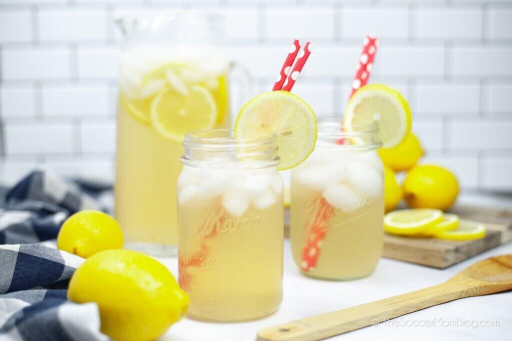 Instant Pot Lemonade served in mason jars