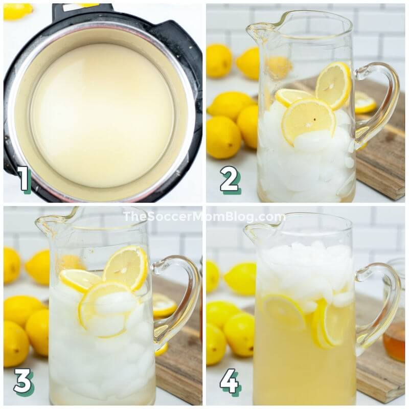 step by step photo collage showing how to make lemonade in an Instant Pot