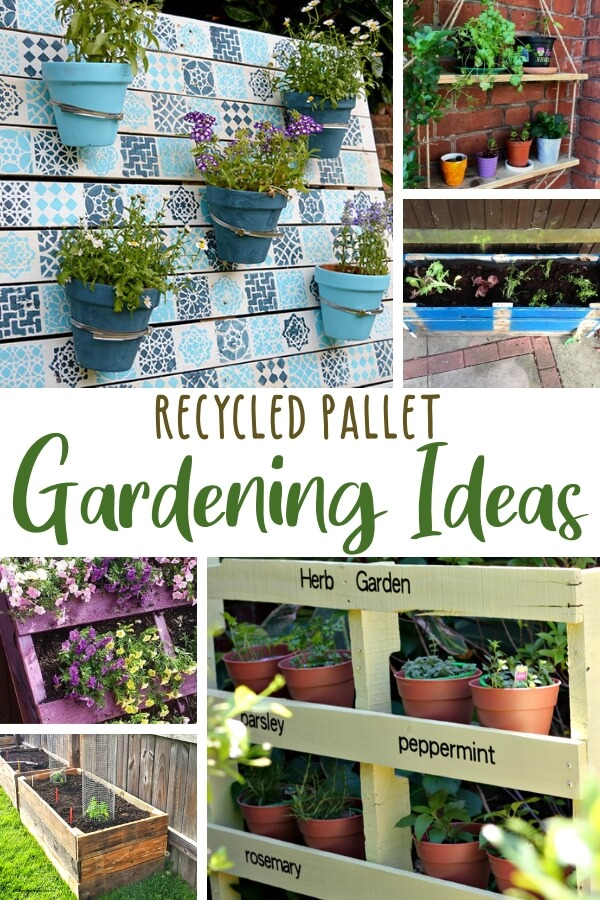collage of DIY pallet garden ideas