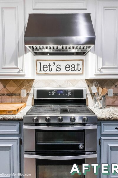 updated kitchen with professional range hood
