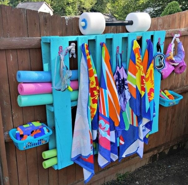 pool supply storage made with recycled wooden pallet