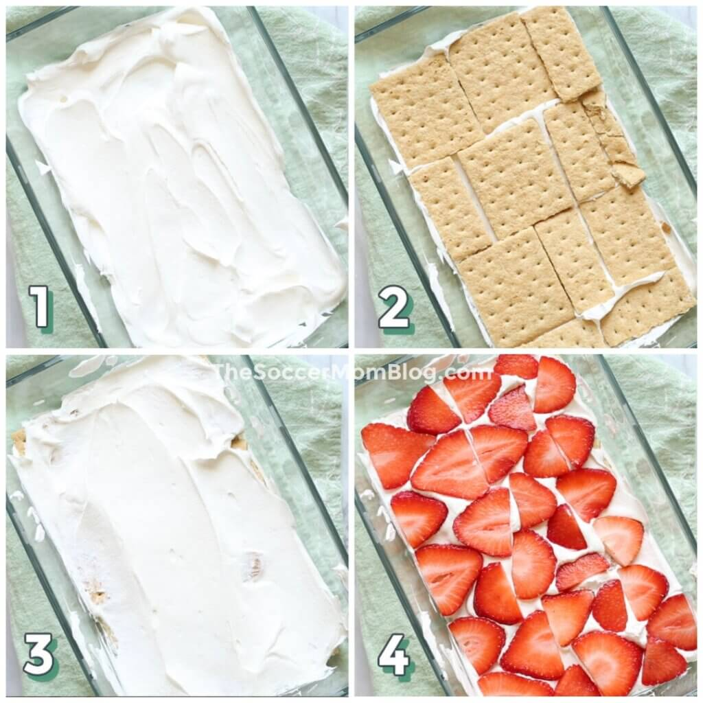 step by step photo collage showing how to make strawberry icebox cake