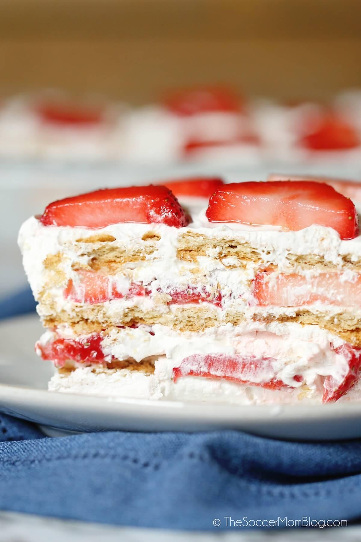 layered strawberry icebox cake dessert