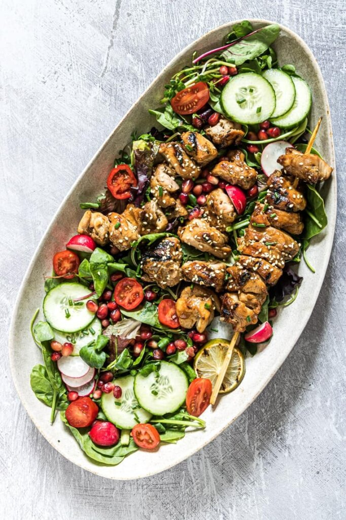 grilled chicken salad with pomegranate