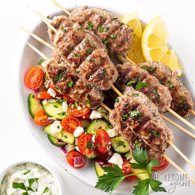 grilled Kafta kabobs with salad