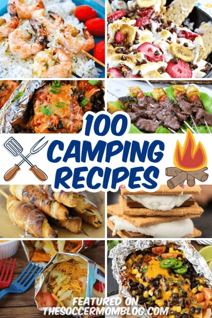 collage of recipes that can be made while camping
