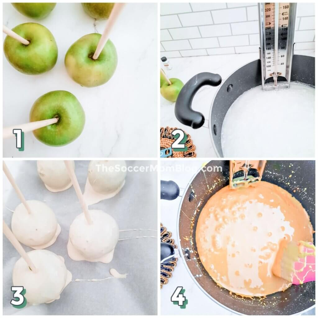step by step photo showing how to make candy corn apples