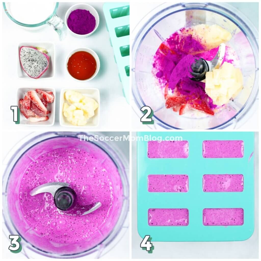 Step by step photo collage showing how to make dragon fruit popsicles
