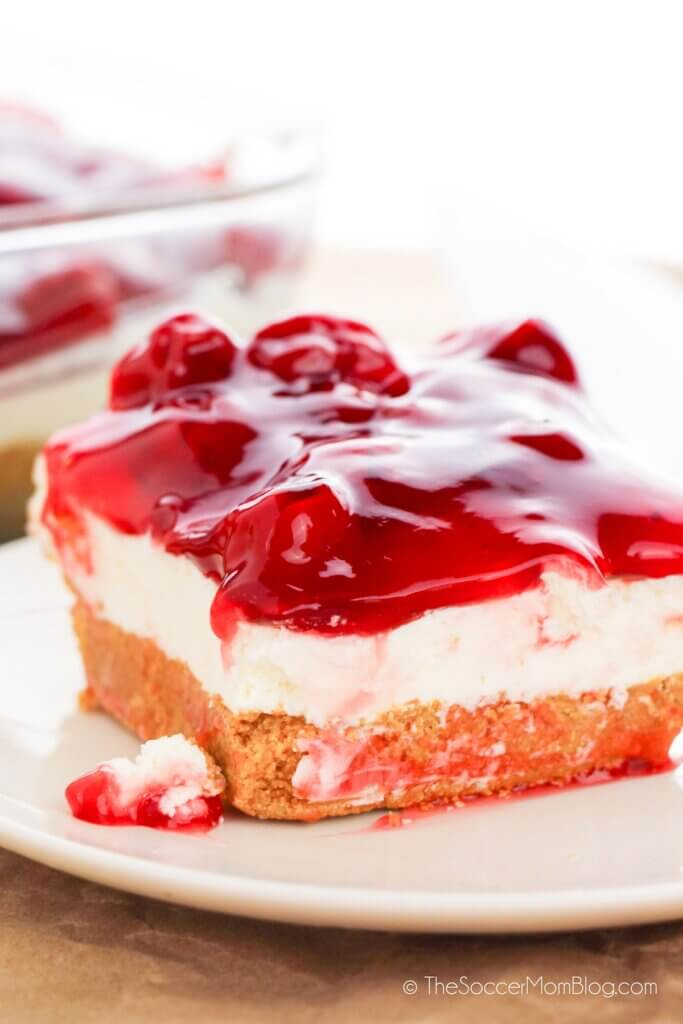 Completed No Bake Cherry Cheesecake