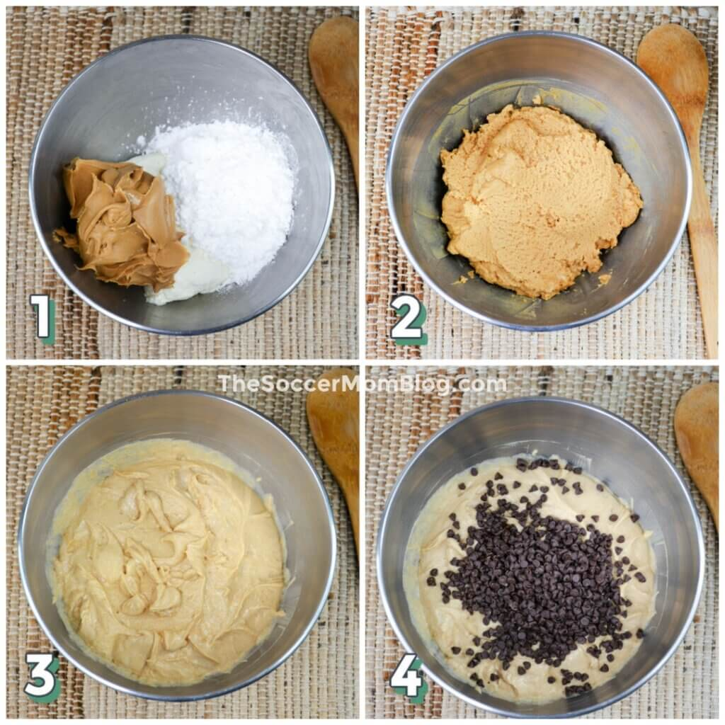 step by step photo collage showing how to make peanut butter pie filling