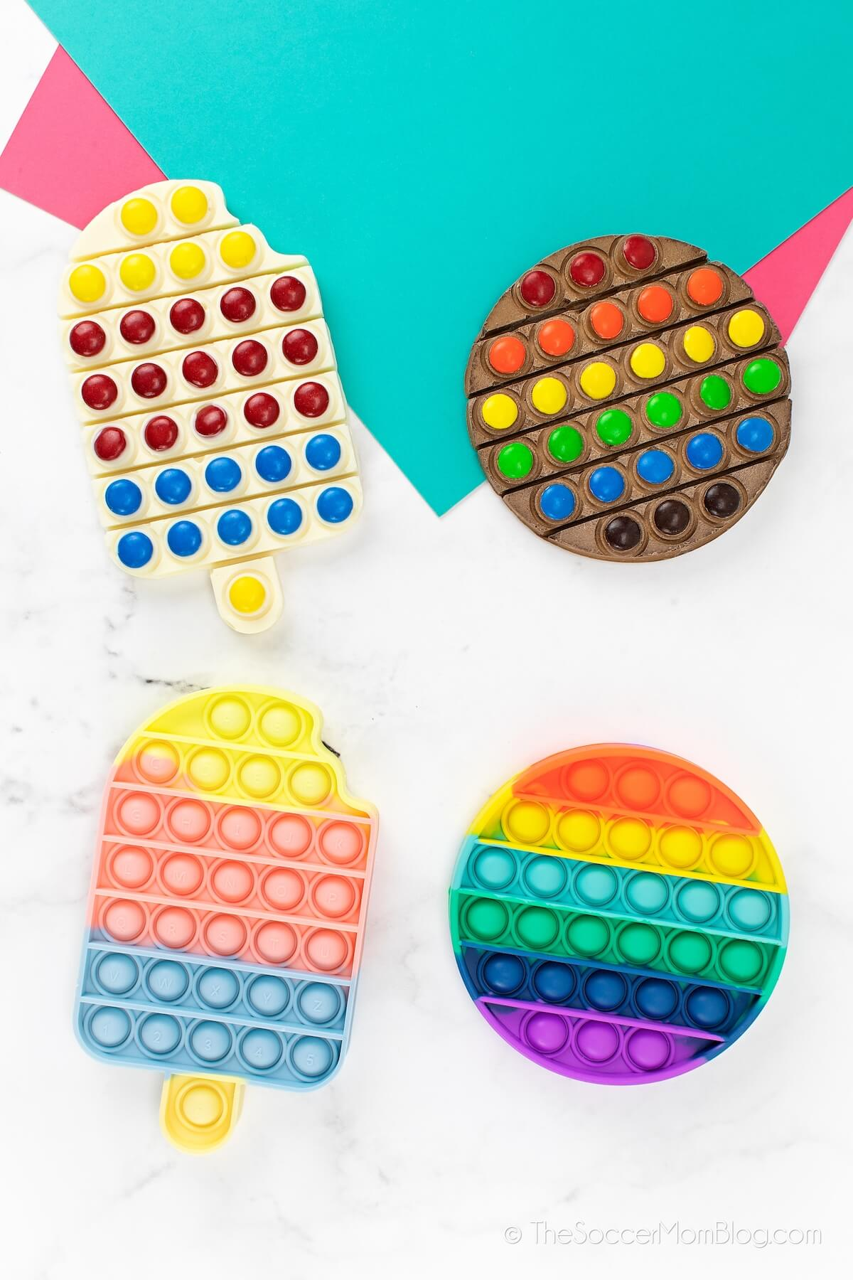 chocolate bars made using pop-it fidget toys as a candy mold