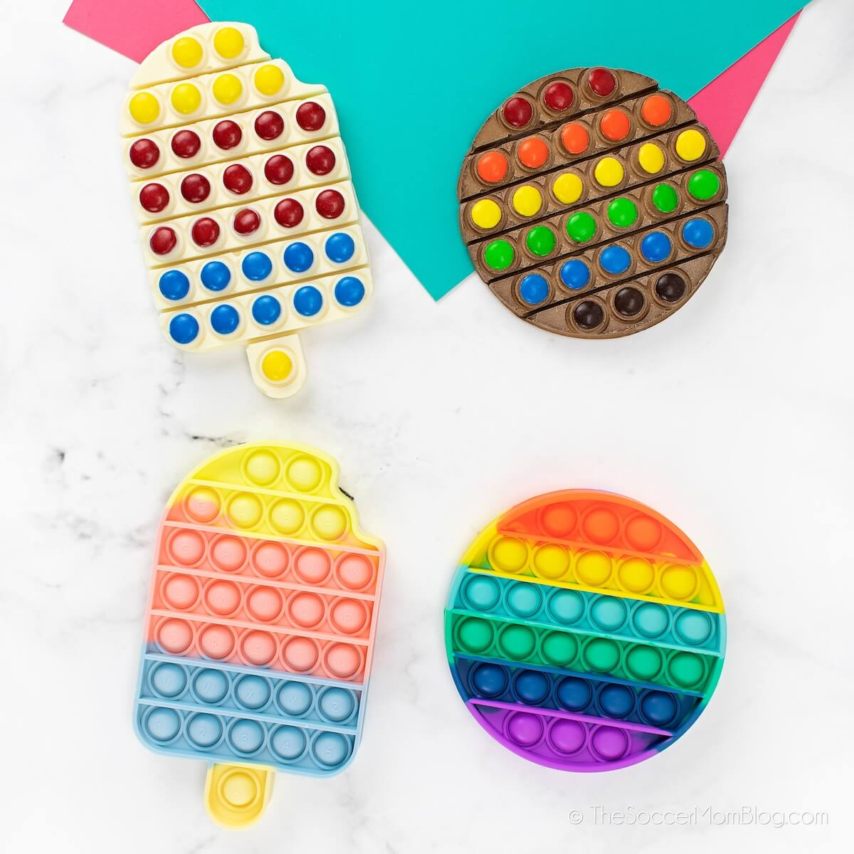 chocolate bars made with pop it fidget toys