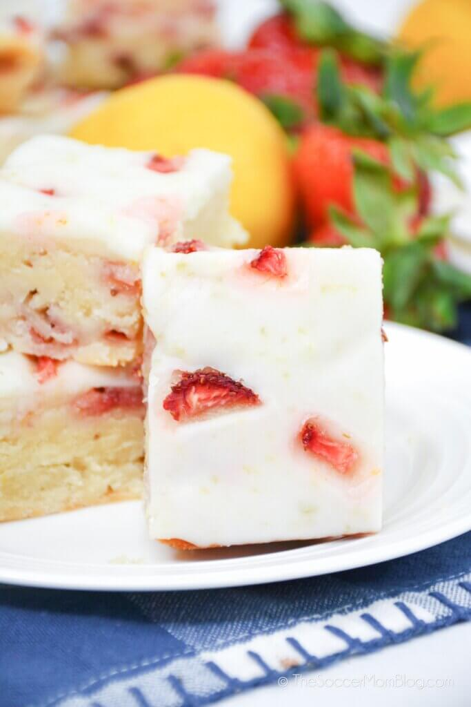 Strawberry Lemon Blondies stacked on a plate