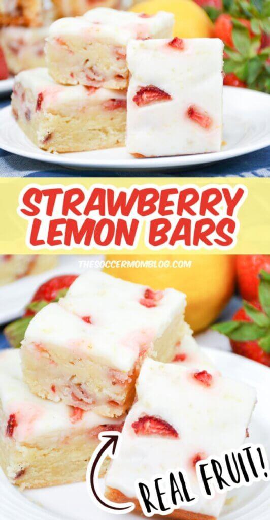 Strawberry Lemon Bars Pinterest image