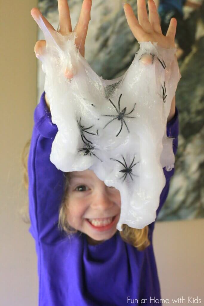 clear slime with fake spiders
