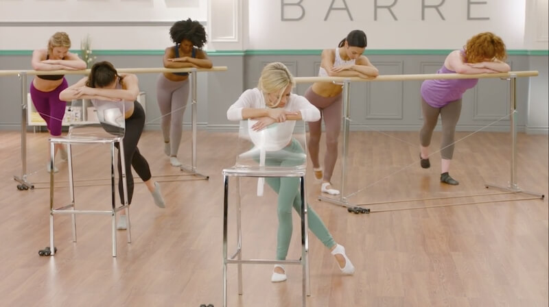 screenshot of Andrea Rogers barre class on Openfit