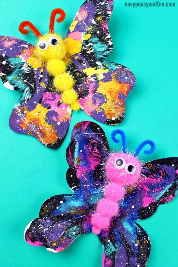 galaxy painted butterfly kids craft