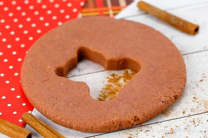cinnamon play dough with bear cutout