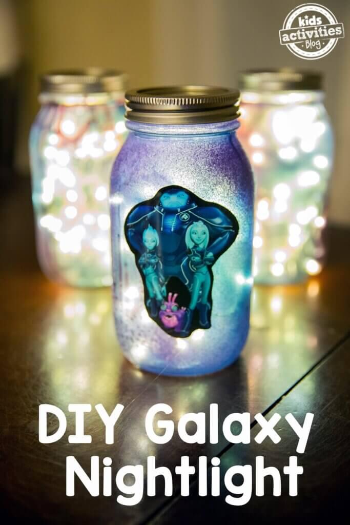 DIY galaxy night light made with string lights