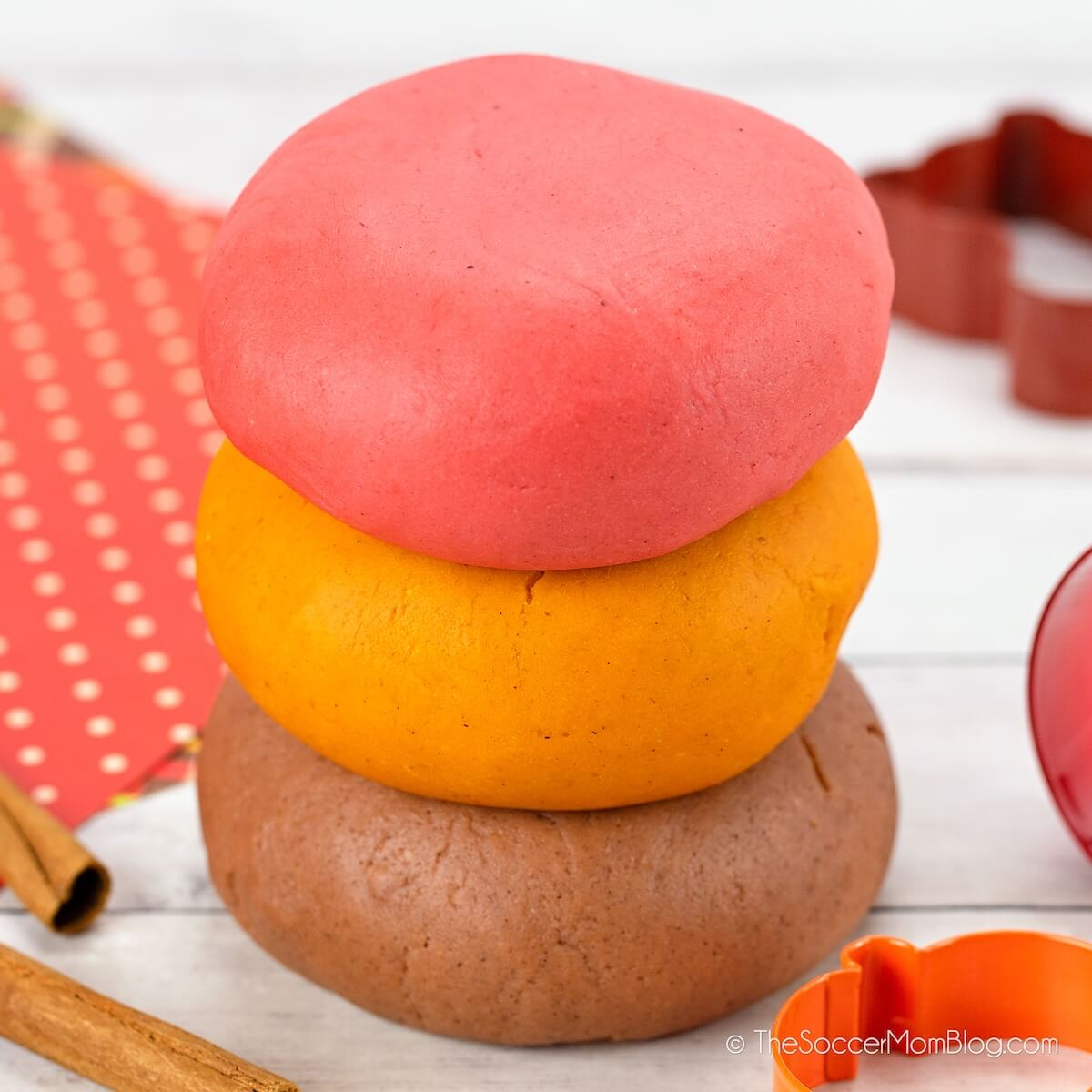 3 flavors of fall playdough stacked up