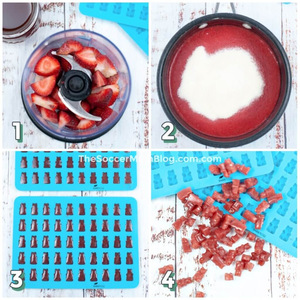step by step photo collage showing how to make homemade gummy bears with strawberries