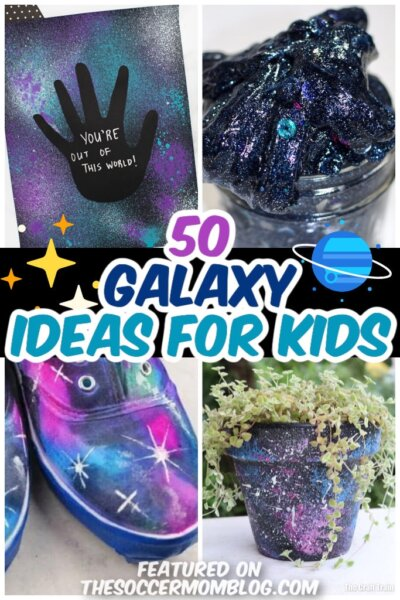 collage of galaxy themed crafts for kids