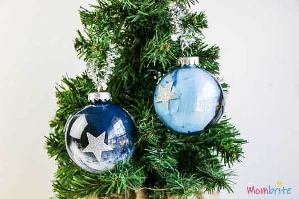 galaxy Christmas ornaments on tree