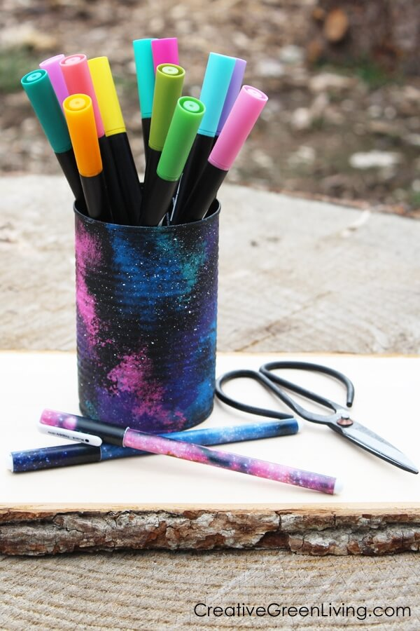 galaxy painted can to hold pens