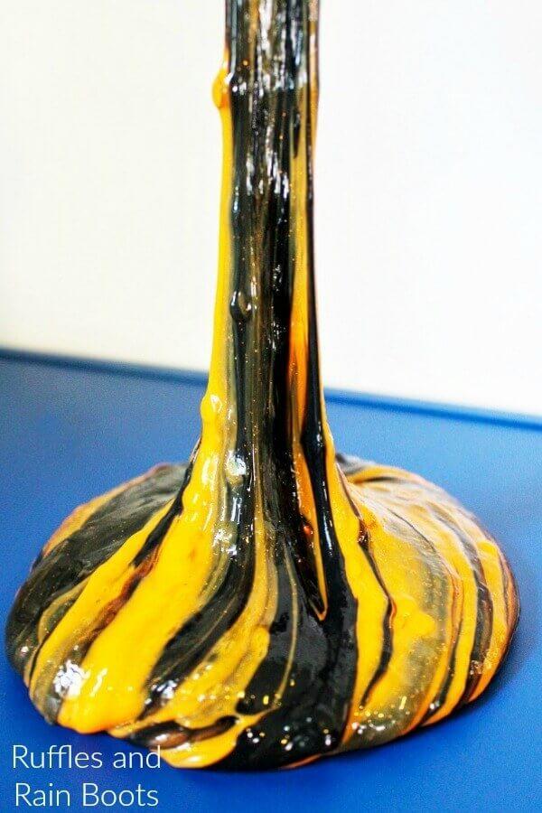orange and black swirl slime