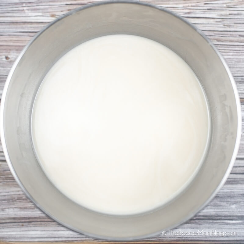 homemade oat milk in mixing bowl