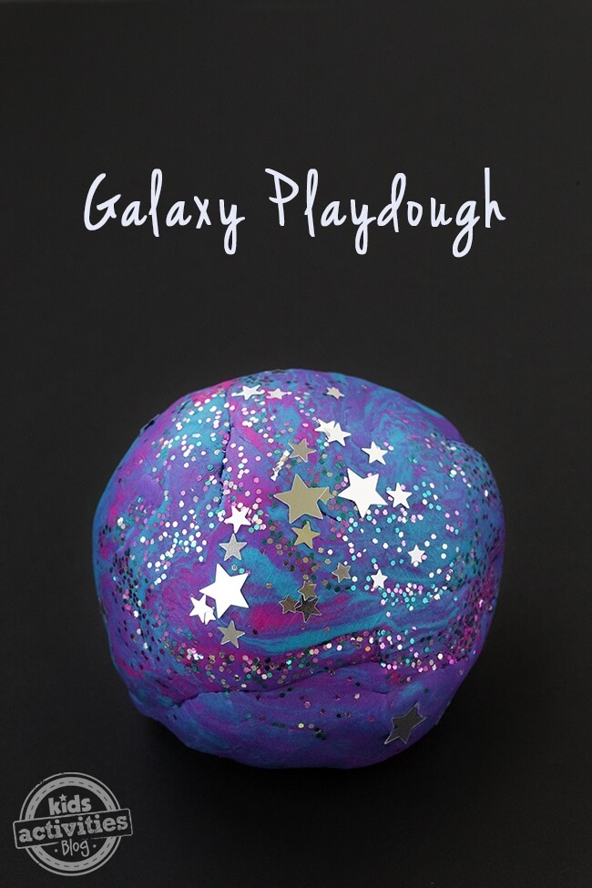 galaxy themed play dough with stars