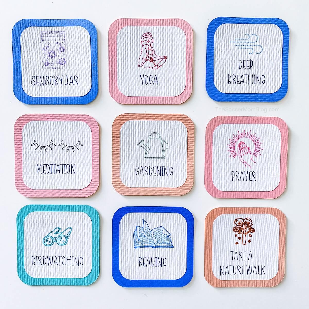 tarjetas de actividades de atención plena para niños