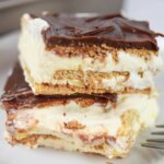 sliced eclair cake made with graham crackers and pudding
