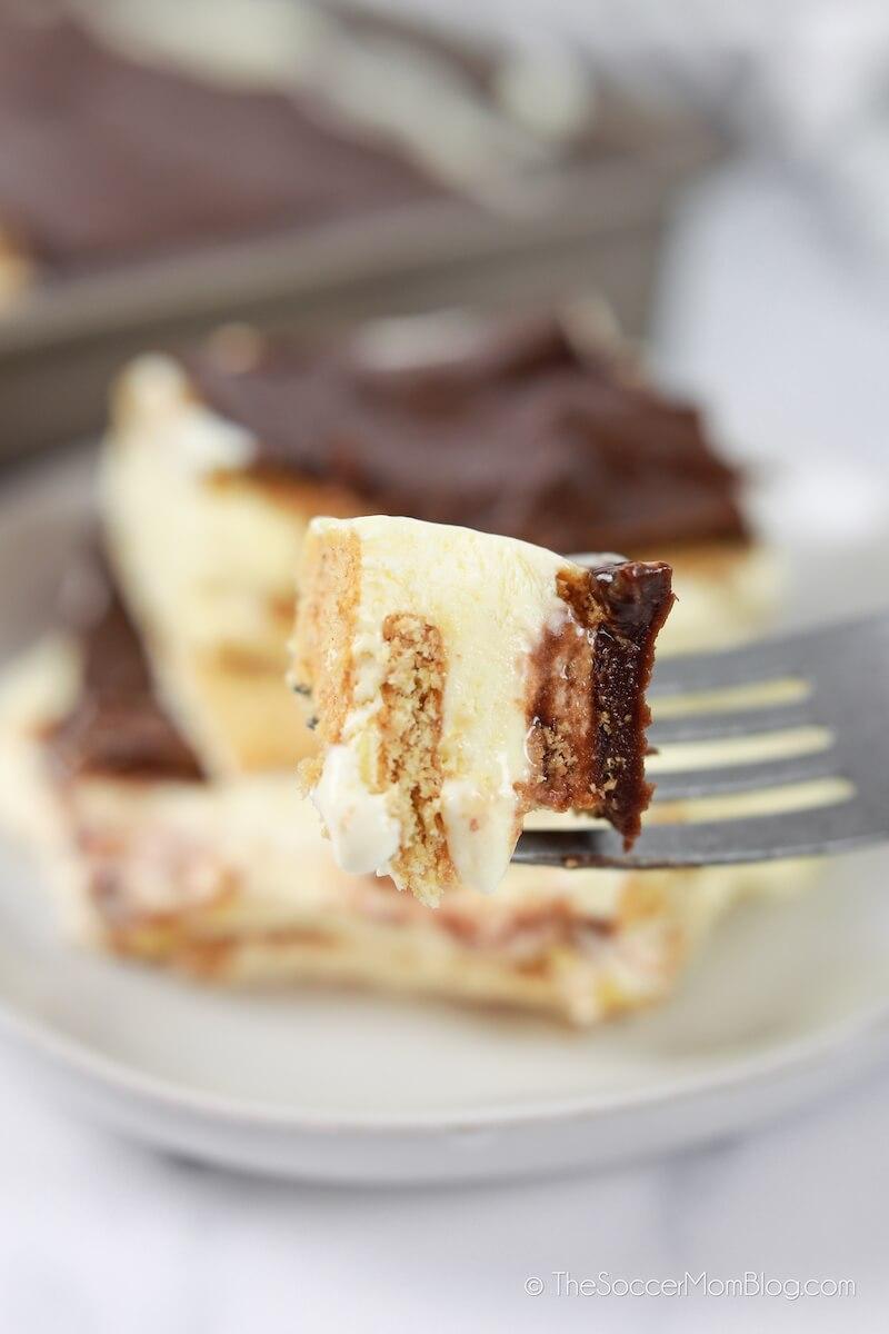 bite of eclair cake on fork