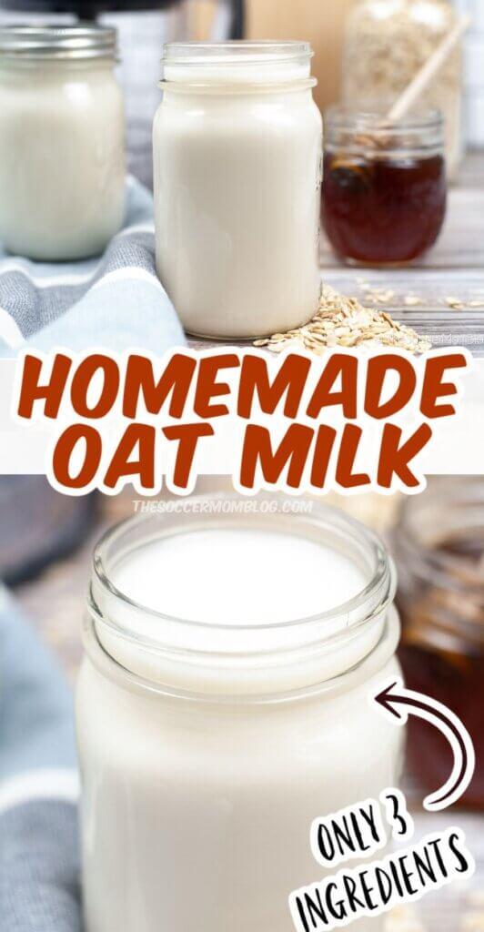 Homemade Oat Milk Pinterest Style Image