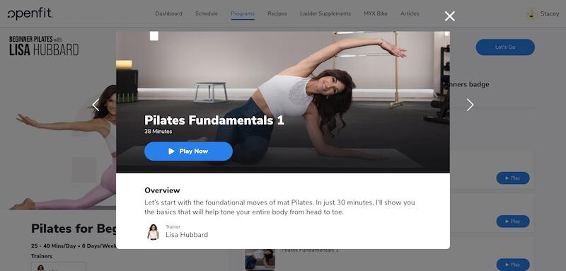 screenshot of Lisa Hubbard Pilates on Openfit