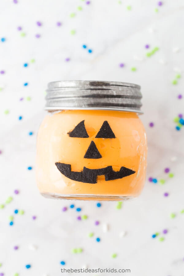 Halloween slime in a decorated jar