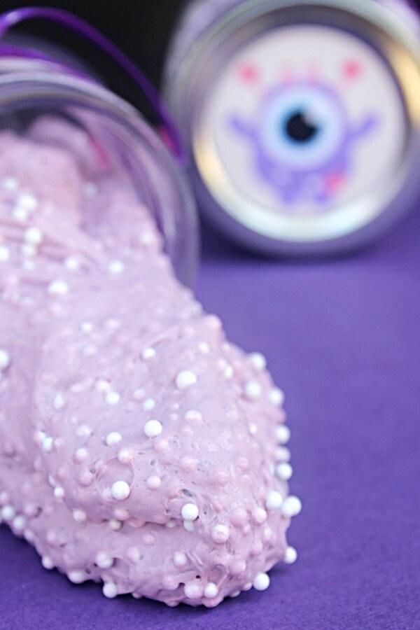 purple slime with foam beads