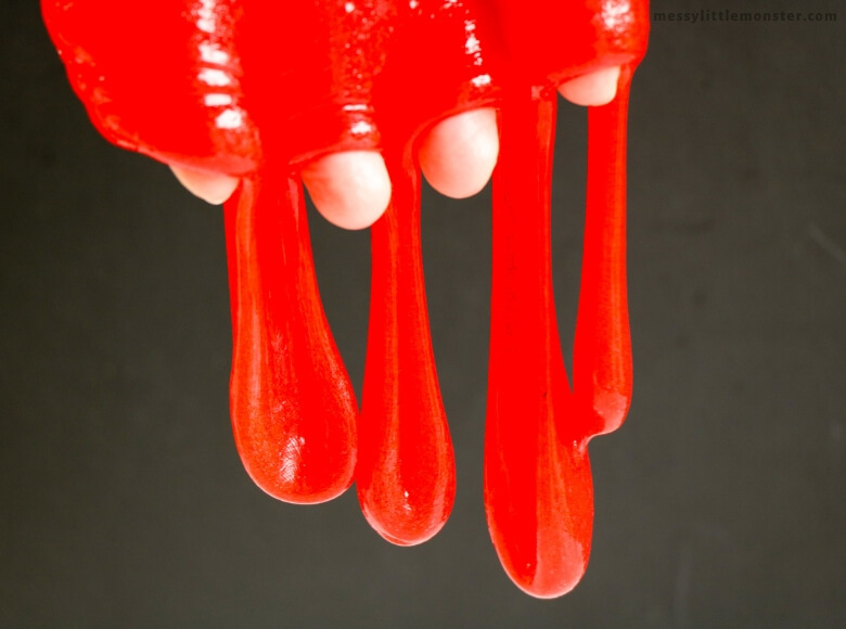 bright red slime dripping from hands