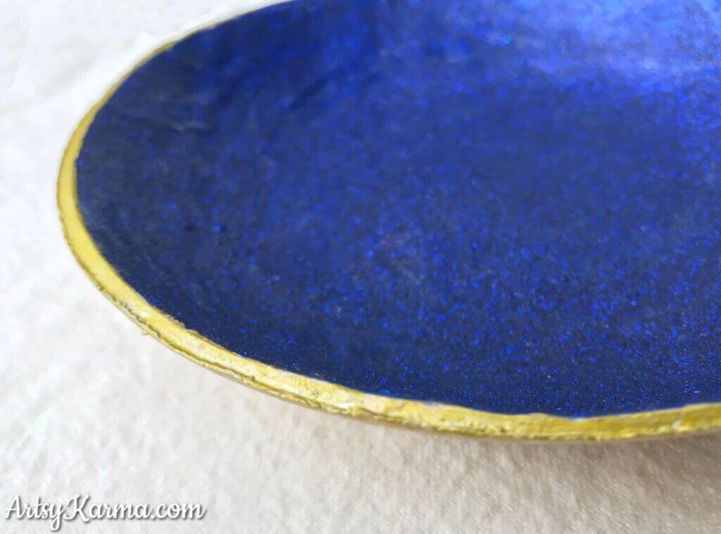 glittery blue homemade jewelry dish